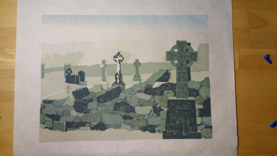 Corcomroe Abbey - layer 10, stenciled layer. The image needed more definition, so I cut a stencil from mylar that would show linework on the stone and a detail on the Celtic cross