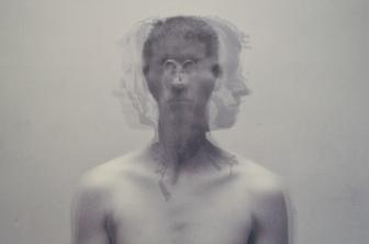 "Dreamscan III (Janus Figure) - Digital inkjet, screenprint, and chine-collé, 30x24"", 2018"