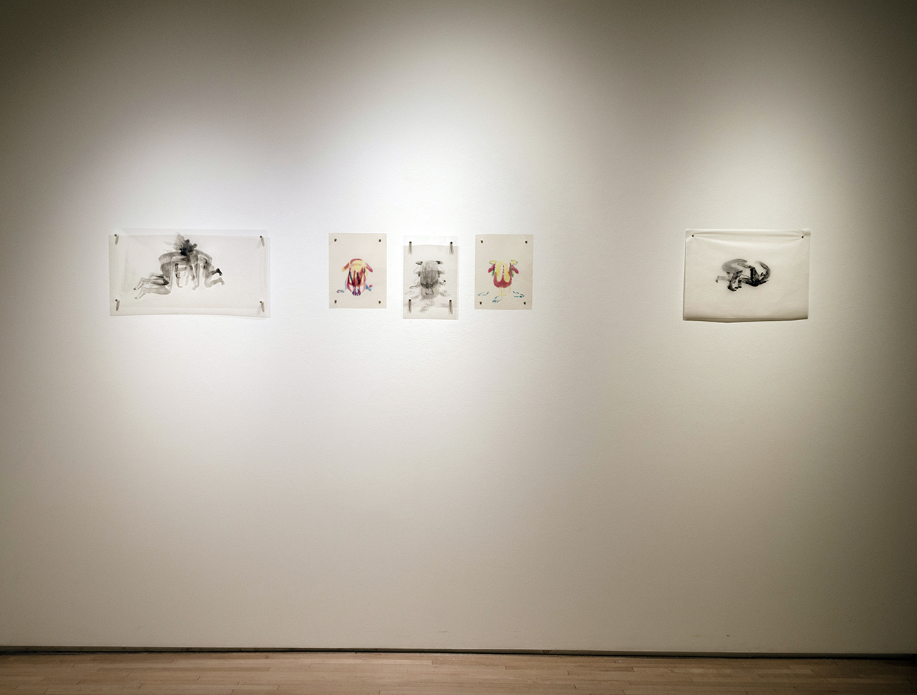 Toner drawings on film and The Fight_install